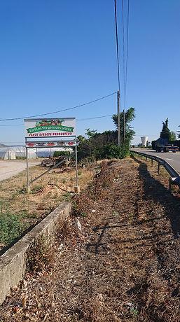 """Earl les vergers des grives, panneau """"Vente directe producteur"""" au bord de la N7 à Pont de l'Isère."""