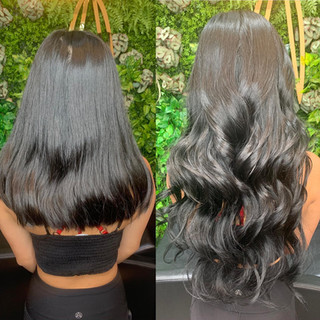 """🦄 24"""" jet black sexiness from @bellamihairpro 🖤 beaded sew-in 😍"""