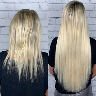 """This dancing queen needed extensions that will keep up with her moves 🕺🏼 from cartwheels in high heels to hair flips and splits she's an amazing soul and we used 24"""" ash blonde"""
