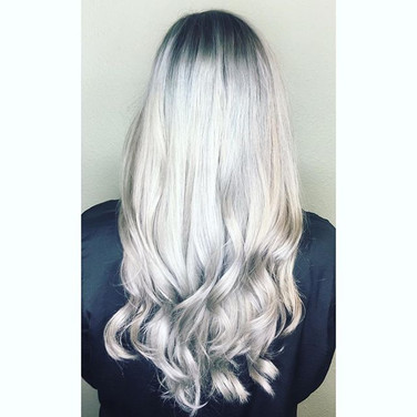 Loving my silver babes! Been messing around with _pulpriothair and this was a combination of smoke at the roots and mercury on the ends...jpg