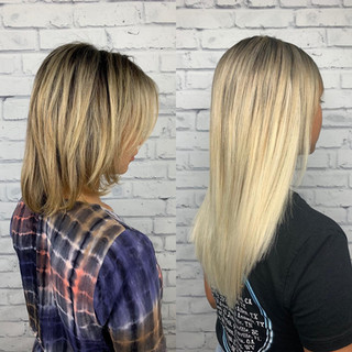 Longer and blonder! 6 bags of @bellamihairpro micro tips (I-tips) (Microbeads) basically individual extensions attached to the client's own hair by an aluminum bead. Maintenance is every 6-7 weeks