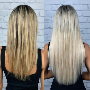 """24"""" ash blonde @bellamihairpro sew-in making magic! Heat free, glue free and adhesive free the sew-in method has been around for years but is new and improved! Easy maintenance for my clients who don't like to sit in the chair for long."""