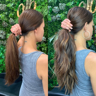 """For this beautiful blend we used dark brown to chestnut brown, Mochaccino Brown to chestnut brown and straight mochaccino brown in @bellamihairpro 22"""" itips."""