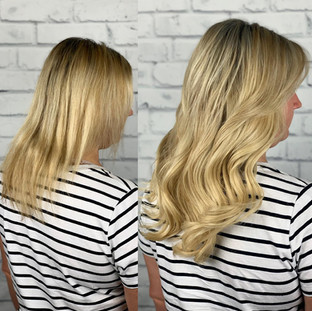 """Natural golden blonde 16"""" weft sew-in. Client wanted a natural but full look, extensions don't have to be super long! We can customize them to any length for your desired look"""
