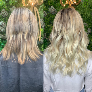 This angel switched from itips to sew-in weft and we love it! We've been working on slowly brightening and lightening her hair in the healthiest way possibly all while wearing extensions! When clients ask me if extensions are damaging I simply show them the collection of clients who have experienced amazing hair growth while having their dream hair!