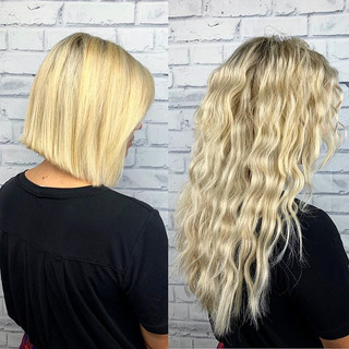 Three rows of hand sewn extensions with