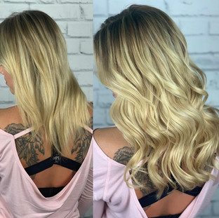 """Butter blonde 16"""" sew-in from the one and only @bellamihairpro"""