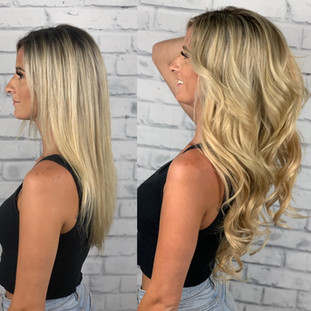 """22"""" of golden goodness this little honey pot is wearing three rows of @bellamihairpro machine weft sew-In."""