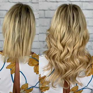 """Little bounce and flounce 😍 16"""" butter blonde sewin extensions from @bellamihair"""