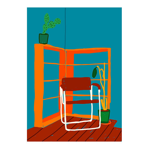 Isolation Series N 6 // Chair in front of shelves in front of wall // A3 print