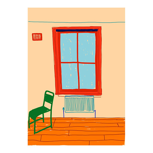 Isolation Series N 7 // Chair in front of radiator under the window // A3 Print