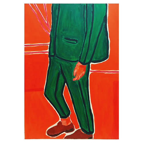 Green suit man // Original Painting