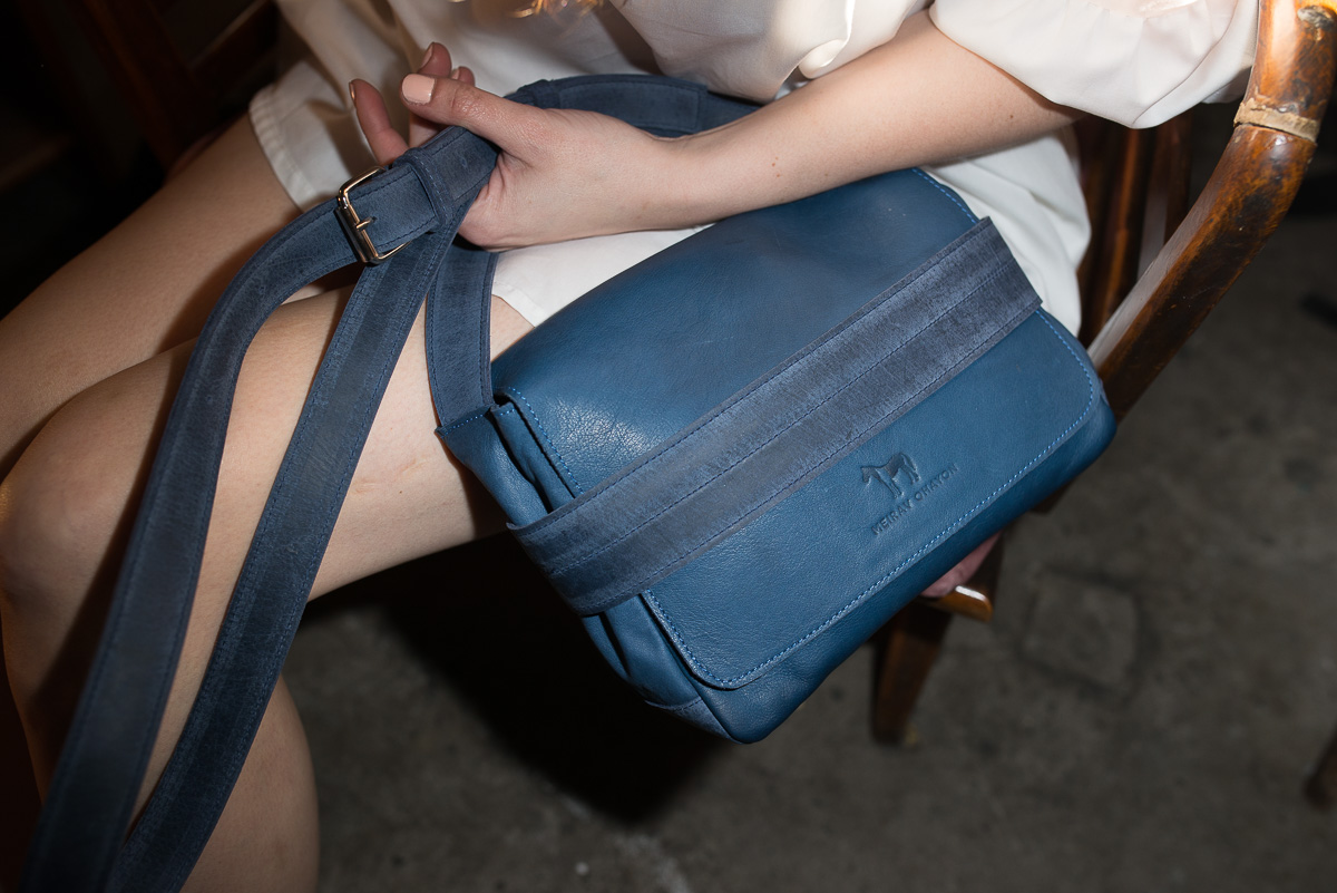 Blue Saddle Leather Bag