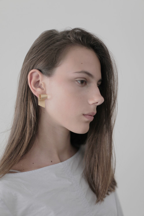 Long Rolled Strip Stud Earrings