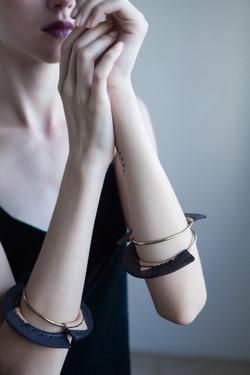 Leather Metal Bangle Bracelets