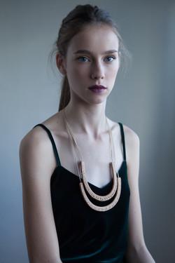 Luna - Beige Leather Necklace