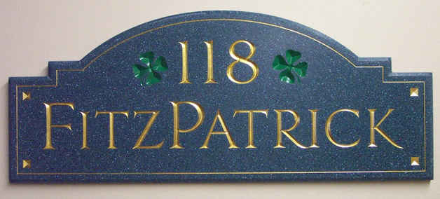 Corian Carved w Gold Leaf House Plaque 5