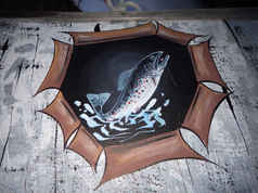 Boat Canoe Hand Painting Trout tn.JPG