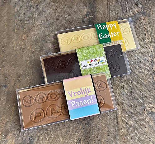 Chocolade tablet vrolijk pasen