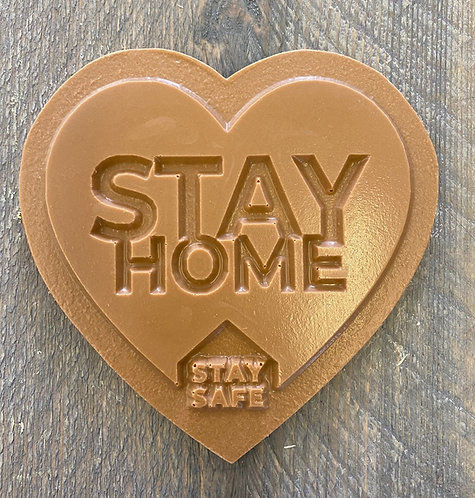 Chocolade hart Stay home Stay safe standaard