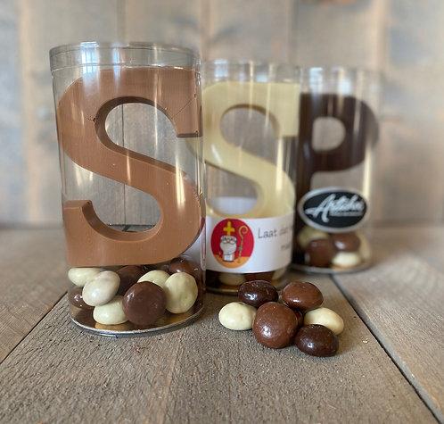 Chocoladeletter met kruidnoten in koker 175 gram