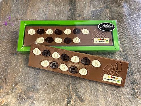 Chocolade tablet vrolijk pasen groot met logo