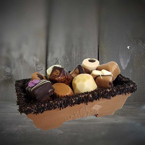 Chocoladebakje met bonbons 400 gram