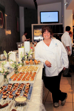 Chef Amy with apps lined up