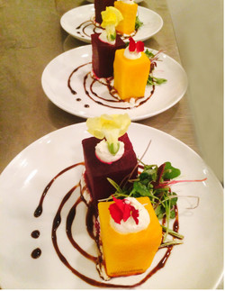 Beet Cube Salad w Goat Cheese Mousse