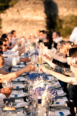 France Guests Toasting