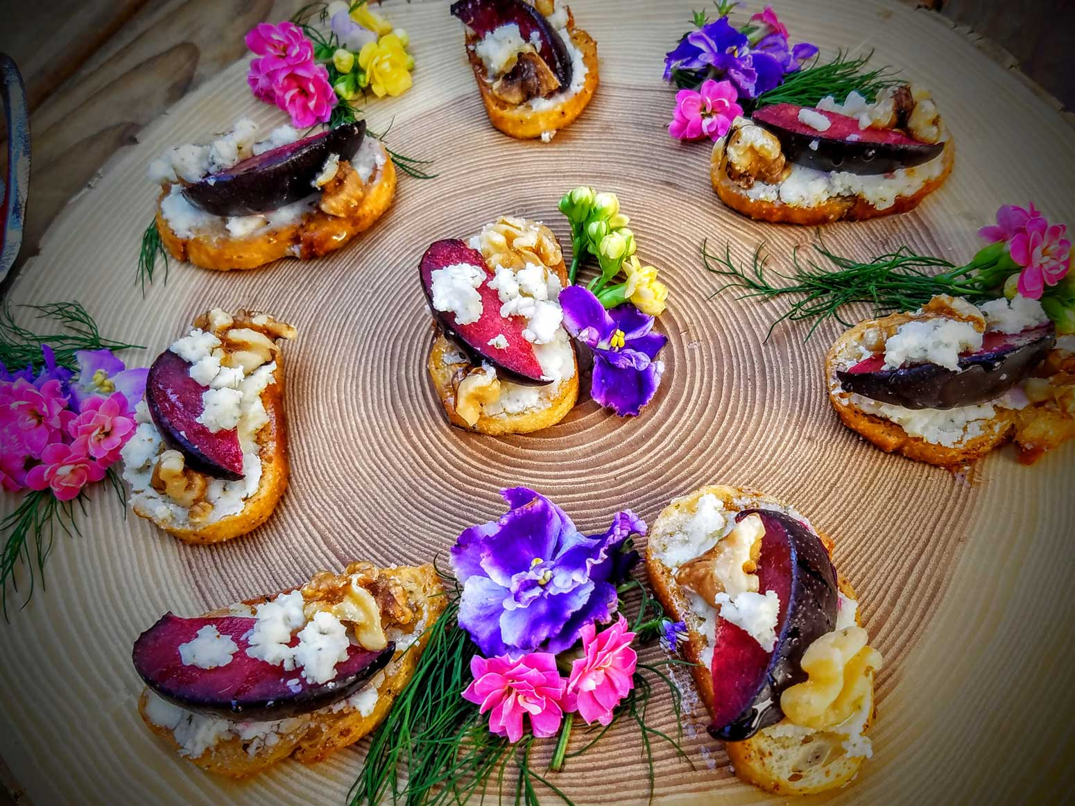 Plum & Blue Cheese crostini