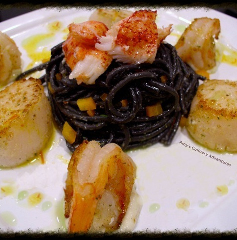Seafood Scampi with Squid Ink Pasta