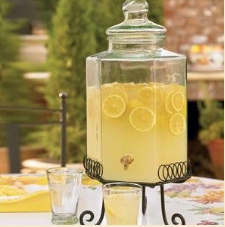 lemonade in glass dispenser