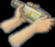 hands holding a bottle illustration