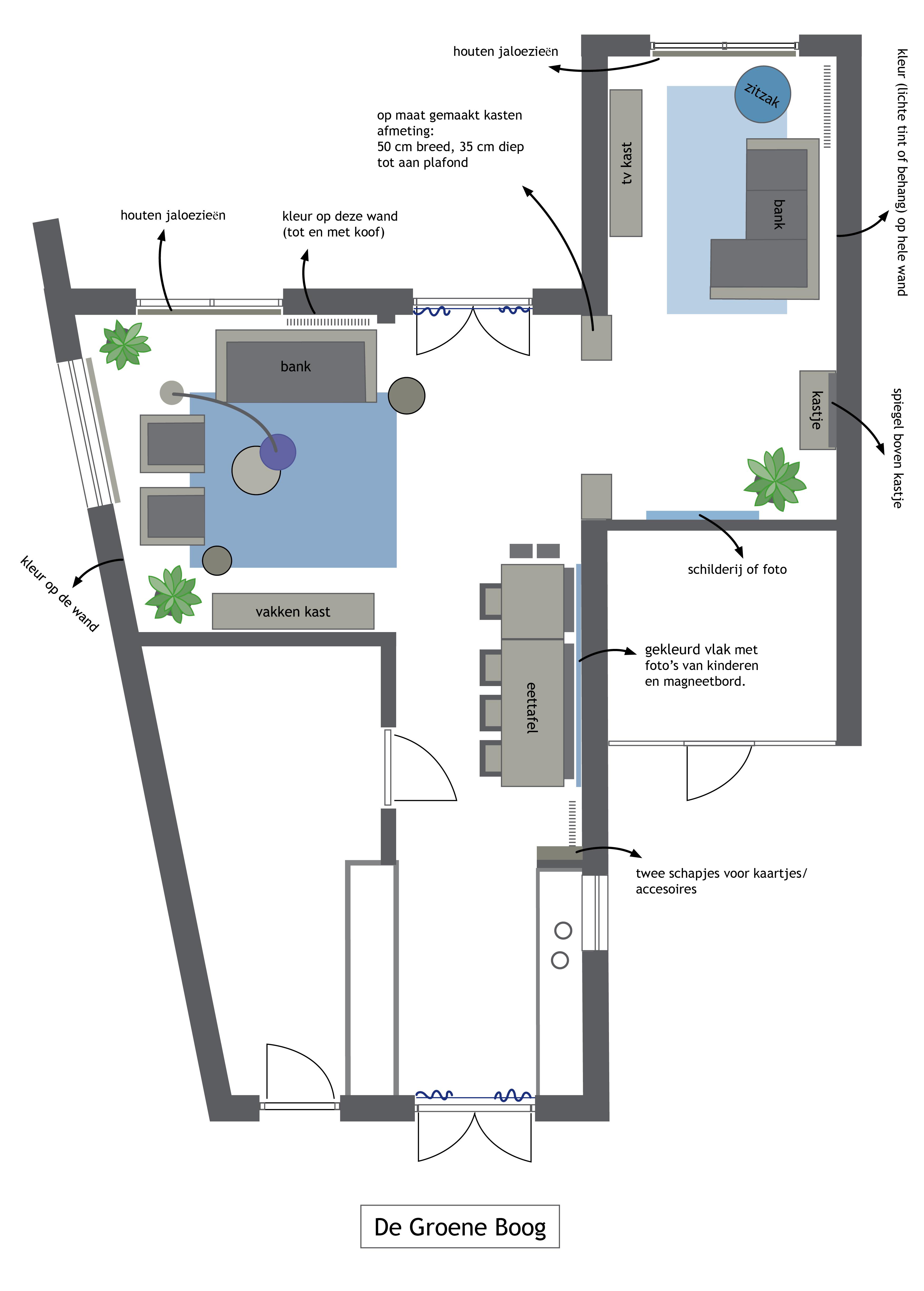 plattegrond woonkamer en keuken