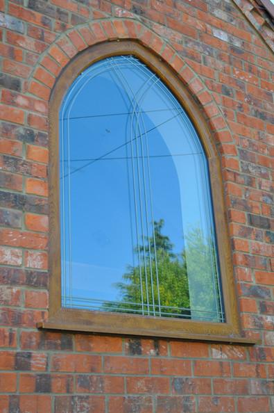 Golden Oak Shaped Window