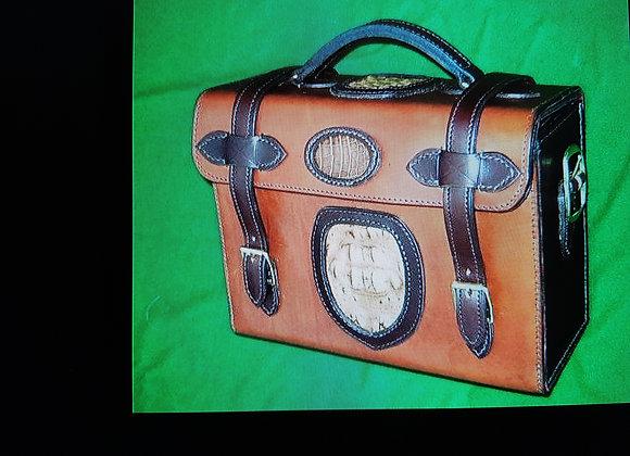 Leather cartridge magazine. Crocodile inserts. Capacity 300 x 12b