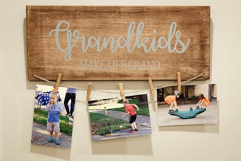 """Grandkids"" Wooden Sign & Picture Holder"