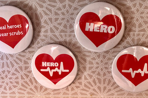 Hearts for Heroes Buttons