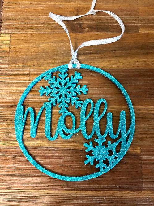 Snowflake Name Ornament- Glitter