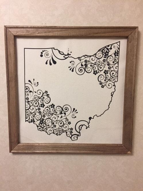 Ohio Framed Vinyl Canvas