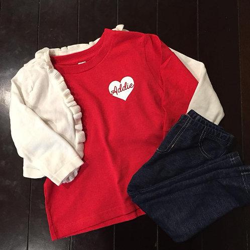 Valentine Name Heart Long Sleeve Tee