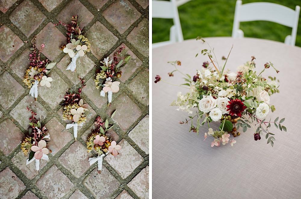 Elegant wedding floral design with cream, dusty rose, and burgundy tones