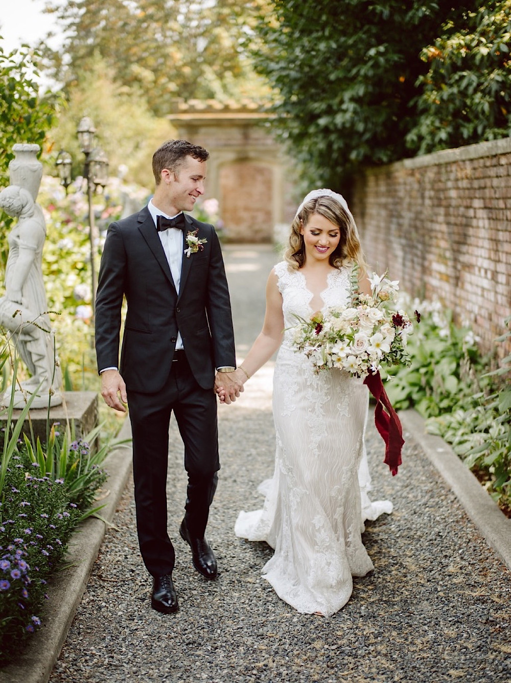 Bride and Groom portrait at a Thornewood Castle Wedding with florals from Botanique