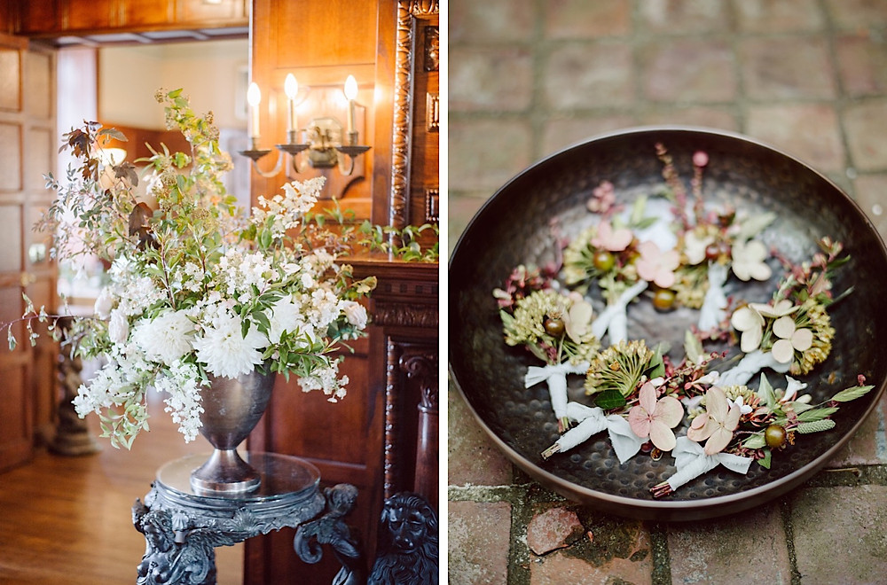 Lush floral details in white, dusty mauve, and burgundy at a Thornewood Castle Wedding