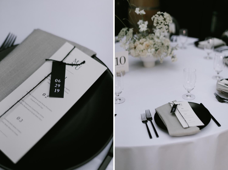 Minimal black and white tablescape design at a JM Cellars wedding