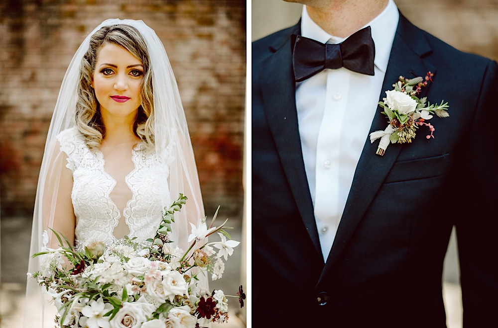 Stylish bride and Groom at Thornewood Castle in Seattle, WA