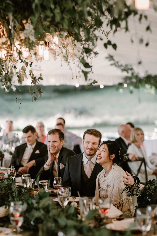 Lush greenery wedding reception decor on Orcas Island by Seattle Wedding Florist Botanique