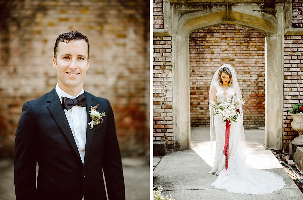 Bride and Groom portraits at a summer Thornewood Castle Wedding