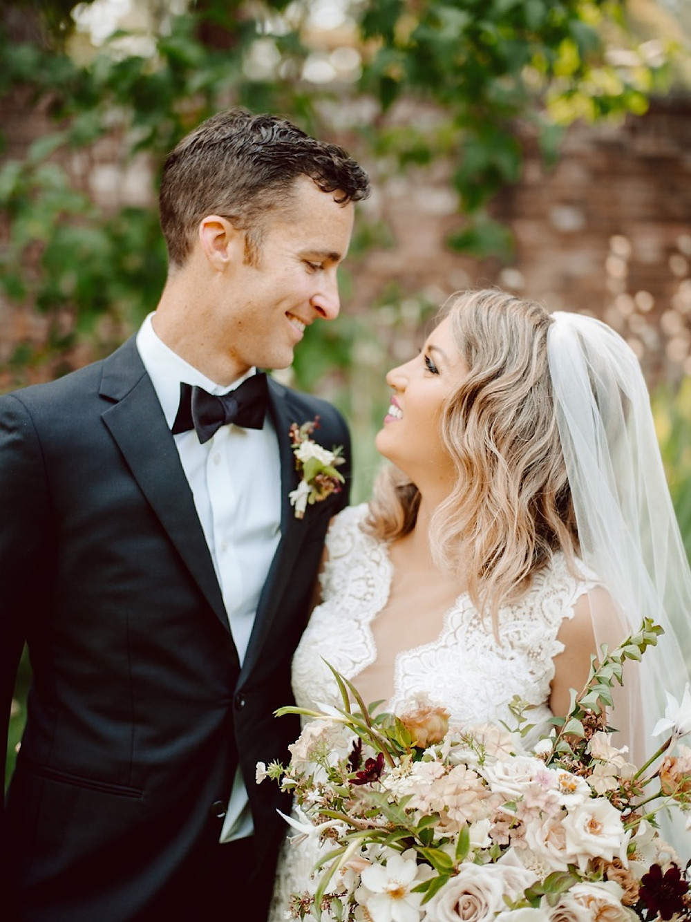 Romantic bride and groom portrait by Benj Haish at Thornewood Castle